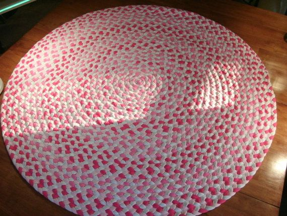Light Pink Fushia And Gray Hand Braided From New Upcycled Cotton T Shirts Fabric