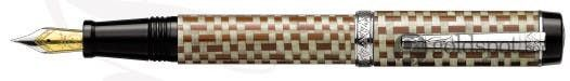 Laban Checkered Flag Compact Brown Weave Medium Point Fountain Pen