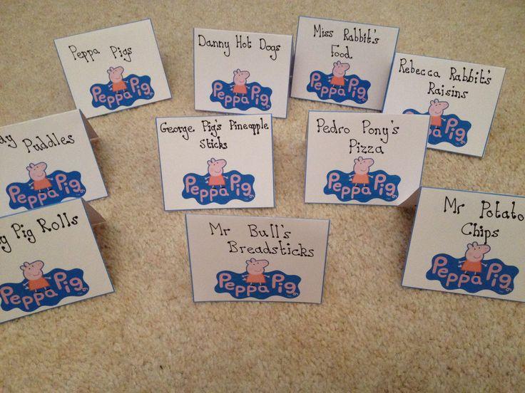 Food label 4 Peppa Pig Party.