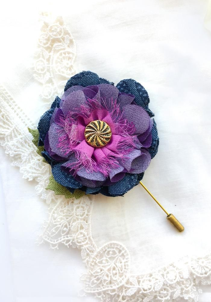 Navy Blue Boutonniere - Lapel Pin Flowers by Rosy Posy Designs