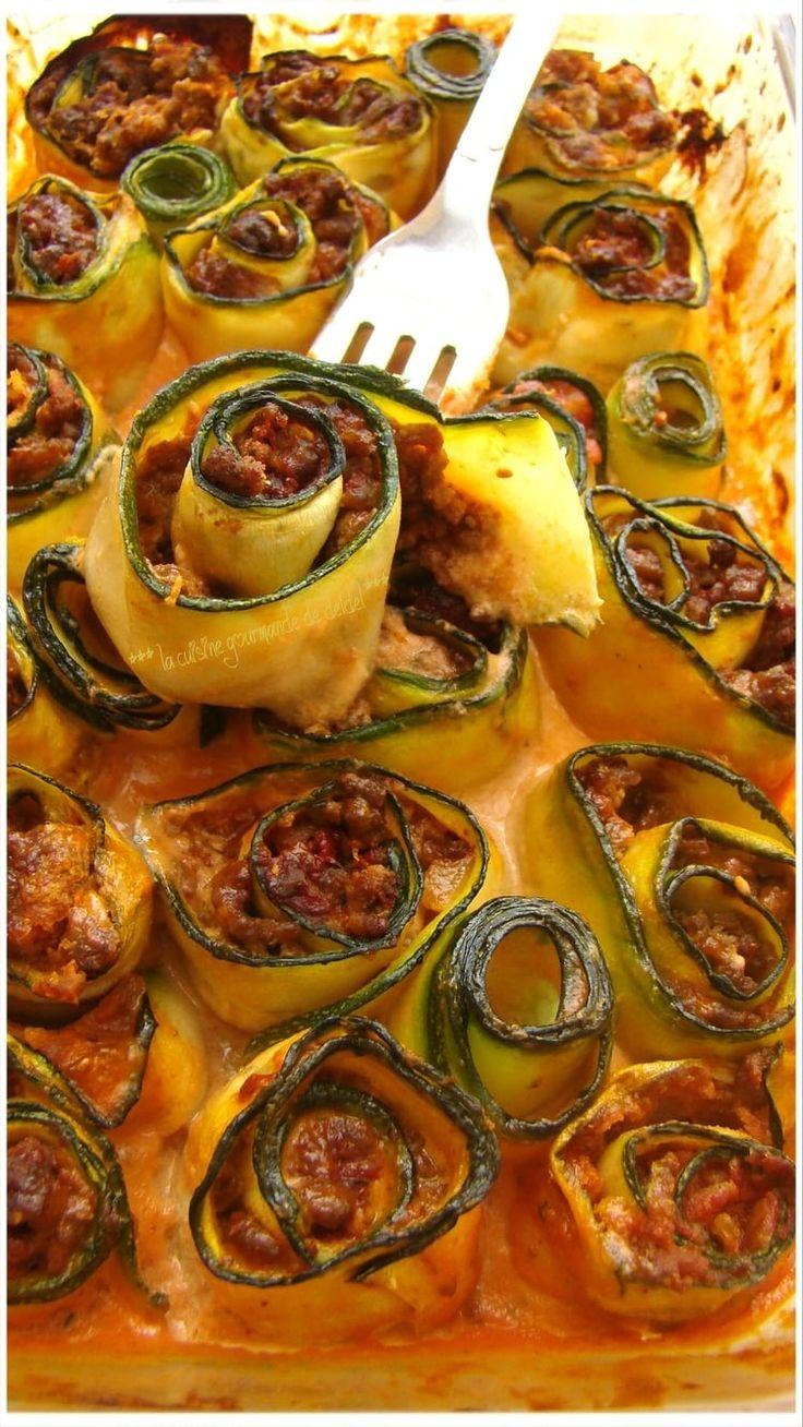 Cannelonis de courgette au boeuf et à la tomate