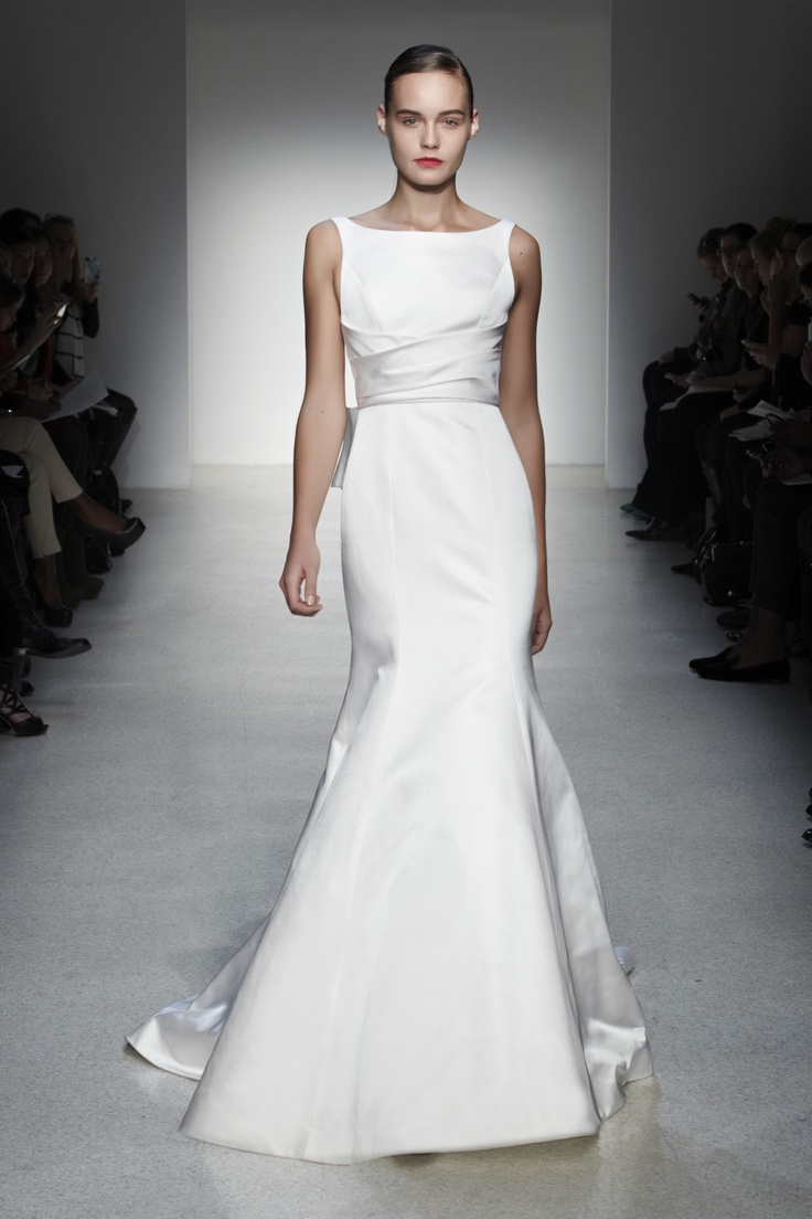 12 best fall 2013 wedding dresses images on pinterest baton amsale wedding dress bridal amsale collection fall 2013 mercer double faced satin fit and flare gown with bateau neckline and asymmetrical sash ombrellifo Image collections
