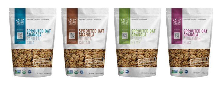 One Degree Organics Sprouted Oat Granolas || Sprouted Oat Vanilla Chia Granola // Sprouted Oat Quinoa Cacao Granola // Sprouted Oat Honey Hemp Granola // Sprouted Oat Cinnamon Flax Granola