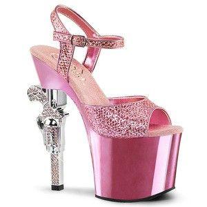 Rhinestone Gun Heel Platform Ankle Strap Sandal in Pink by Pleaser