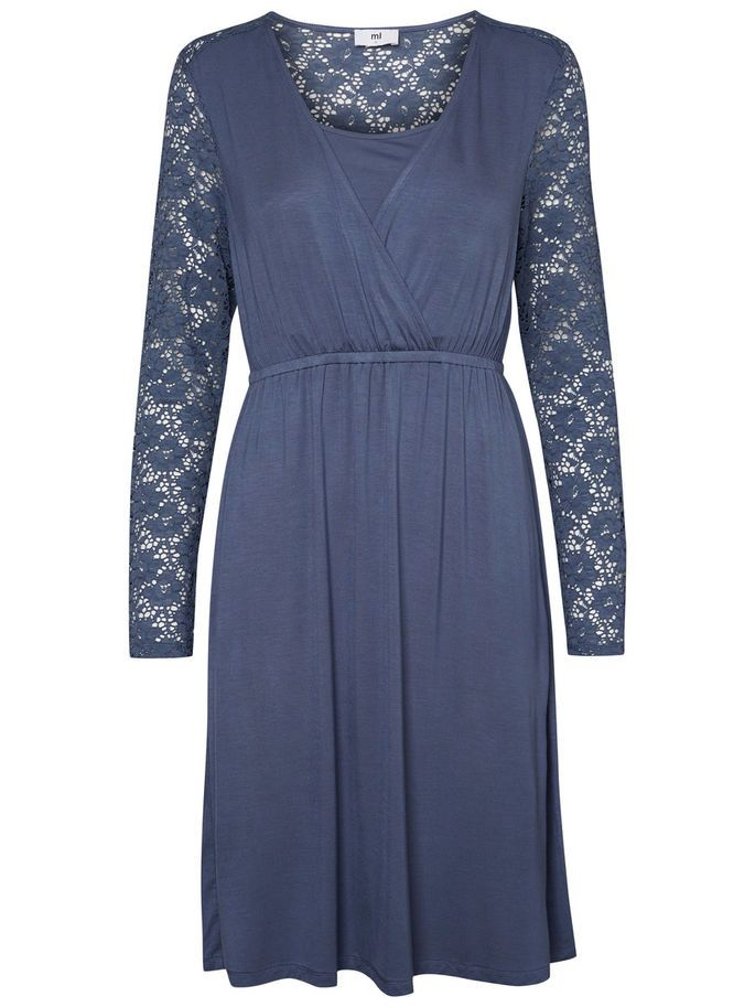 JERSEY NURSING DRESS, Vintage Indigo, large