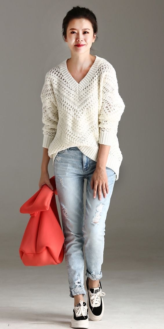 434a8eb9db LOOSE WHITE WARM SWEATER FOR WOMEN M1866