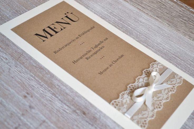 hochzeitskarten basteln vintage menükarte auf karton