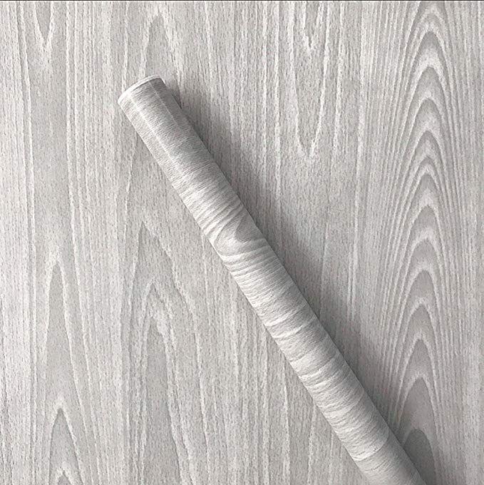 Amazon Com Teemall Light Gray Wood Grain Contact Paper Self