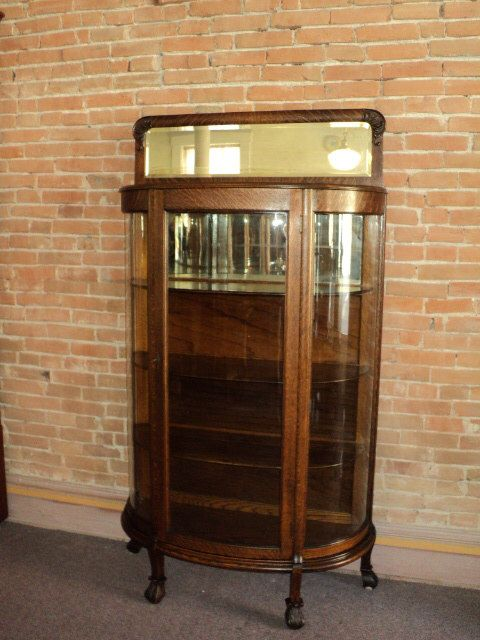 Small Oak Antique Curved Glass China Curio Cabinet W