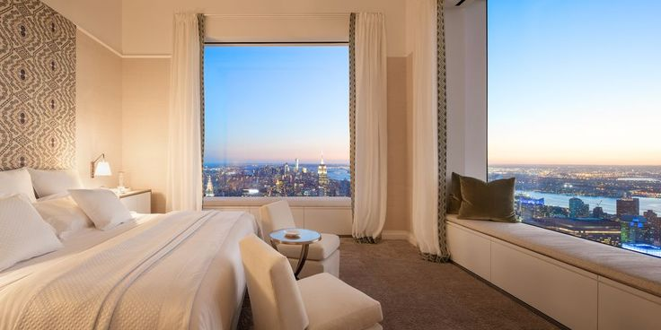 432 Park Avenue, a 1,398 ft tall tower in New York City, here is the view from a bedroom in the 88th floor penthouse