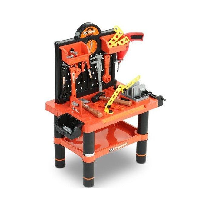 Lasten työkalupöytä, 99,95 €. Monipuolinen työkalupöytä jokaiselle pikkuammattilaiselle. Sisältää kaikki tarvittavat työkalut leikkisään korjaukseen ja puuhailuun. Kaikki työkalut pysyvät hyvässä järjestyksessä koukkujen ja laatikoiden avulla. Ilmainen kotiinkuljetus! #lastentyökalupöytä #työkalupöytä