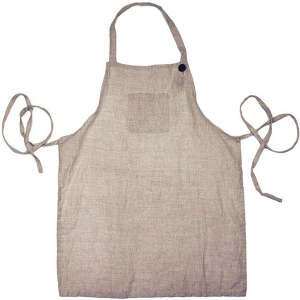 Farmhouse Pottery Washed Linen Adult Apron - Natural Lin05 featuring polyvore, home, kitchen & dining, aprons, cookware accessories, country aprons and linen apron