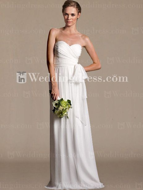 Strapless sweetheart casual wedding dress with a surplice bodice with delicate pleats