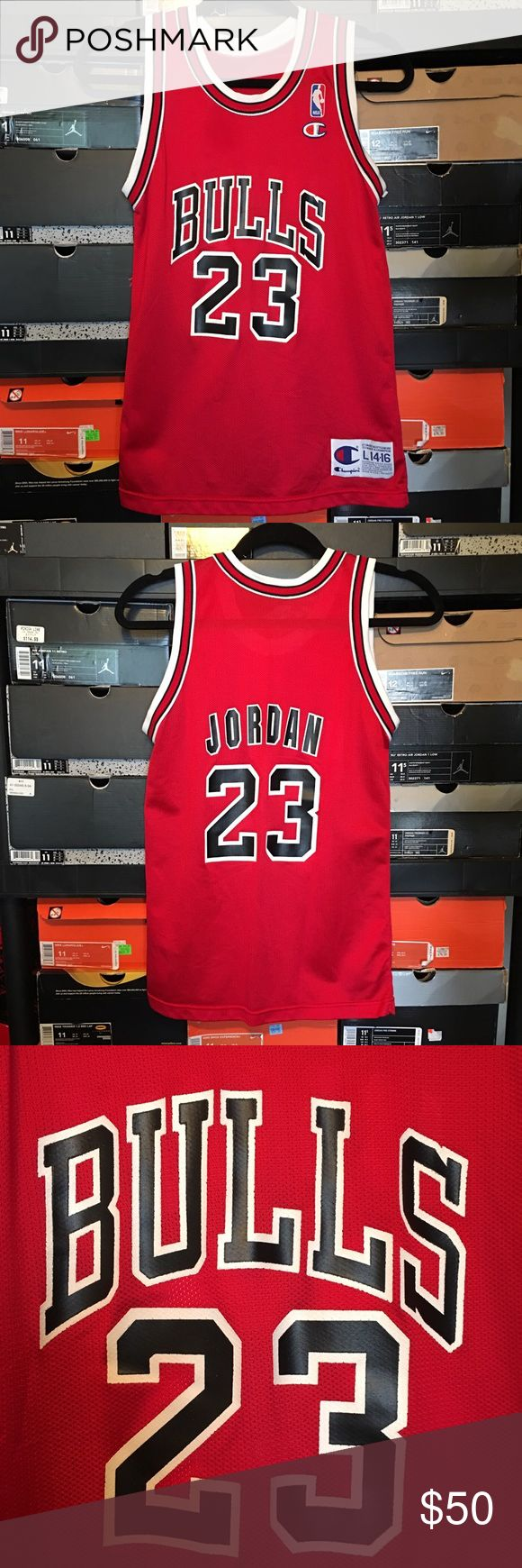 Vintage Champion Bulls Michael Jordan Jersey Vintage Champion Chicago Bulls Michael Jordan Jersey. Men's size Large 14-16. Jersey in excellent condition. Champion Shirts & Tops Tank Tops