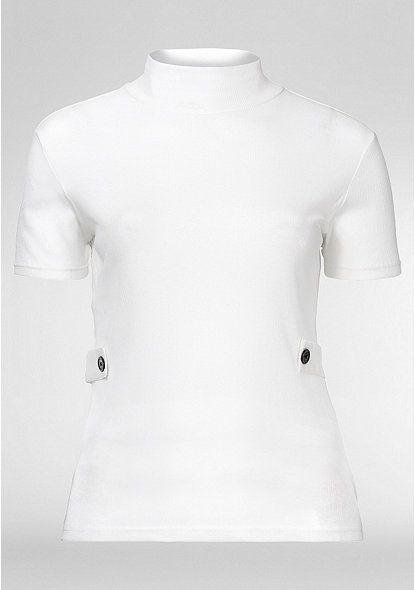 sheego Trend Shirt mit Stehkragen – offwhite