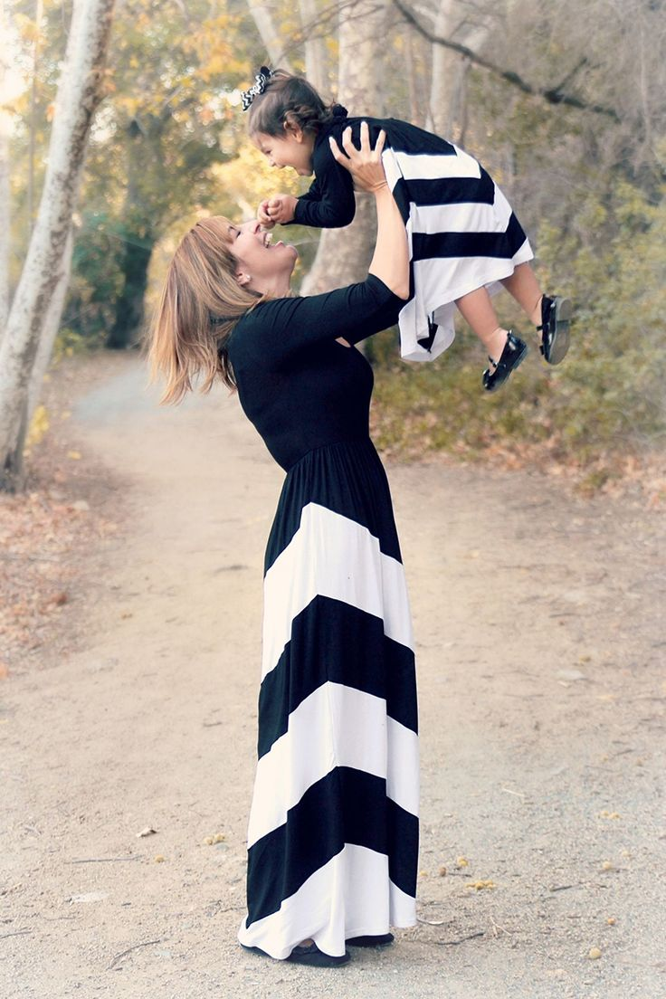 Mommy and Me Black and White Chevron Outfit
