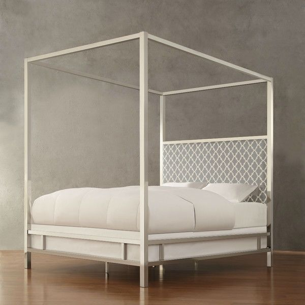 Queen size Contemporary Canopy Bed with Gray White Upholstered Headboard - Quality House