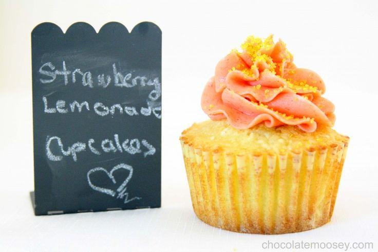 Strawberry Lemonade Cupcakes from www.chocolatemoosey.com