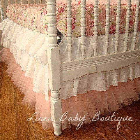 3 Tiered Tulle Crib Skirt, Ruffled Crib Skirt. Love the tool at the bottom!!!
