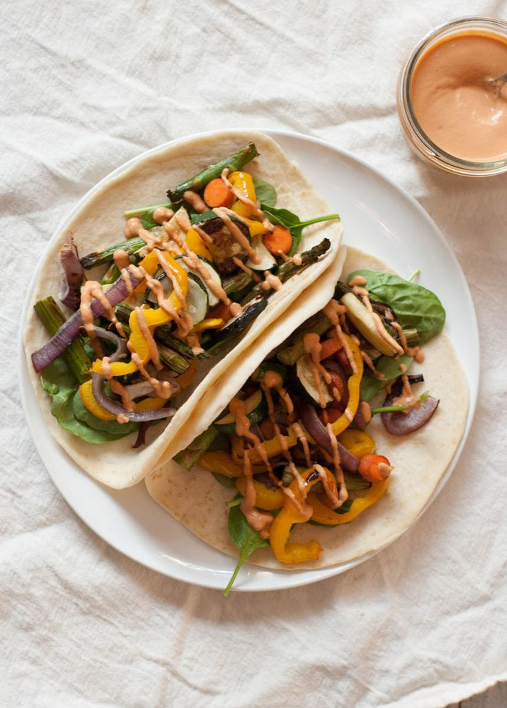 Vegan Chipotle Sauce & Veggie Tacos from mycaliforniaroots.com - a vegetarian food blog