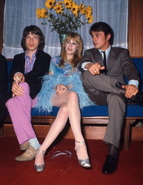 Mick Jagger, Marianne Faithfull and Alain Delon back to 60s.