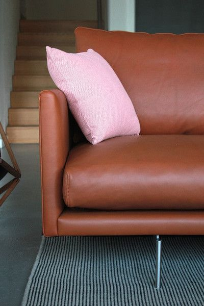 Two Back Sofa in Tan Leather