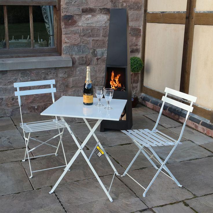 cream 3 piece folding metal outdoor patio bistro set garden furniture seating