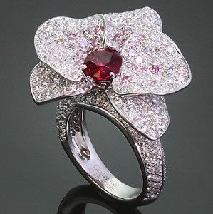 CARTIER Caresse D'Orchidees Platinum Ruby White & Natural Pink Diamond Ring GIA Buy It Now $55,000.00