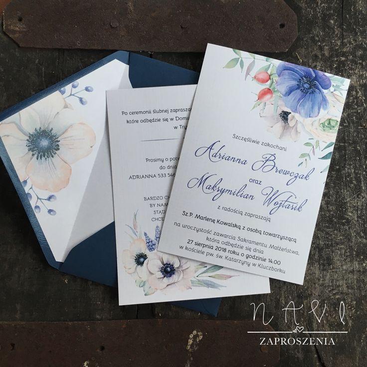 zaproszenia ślubne biała i błękitna eustoma, koperta z wkładką