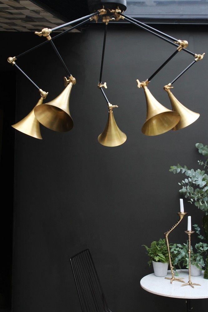 Brass trumpet spider pendant lamp from rockett st george