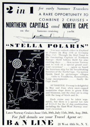 1938 Ad B & N Line Ocean Liner Stella Polaris Cruise Yacht Kiel Norway Travel
