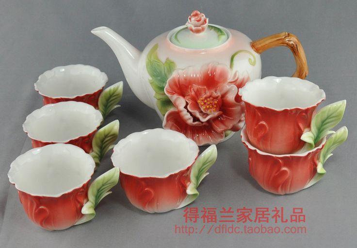 Цветные эмали фарфора кунг фу чайный сервиз высокого класса 1 чайник 380 мл + 6 чашка 50 мл для свадебный подарок купить на AliExpress