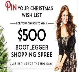 Boot Legger will be your Santa this year by giving you a chance to win a $500 Gift Card.  To enter, follow Bootlegger Jeans on Pinterest, creat a Christmas Wish List board including at least 5 items from Boot Legger, the contest pin, then complete the entry form, including your Pinterest URL.  December 15/2013 CANADA