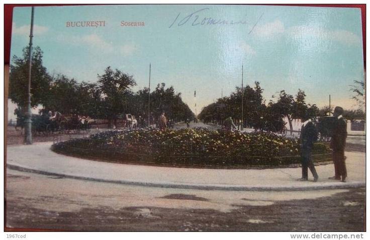 BUCURESTI -  Soseaua KISELEFF -  Rondul cu flori - 1910