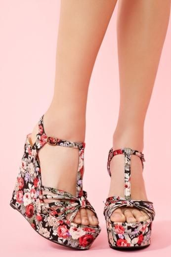 We love: The platforms with floral fabric tie at the ankle