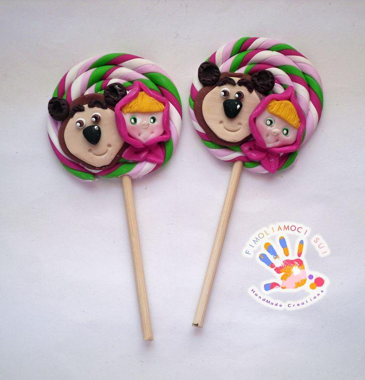 lollipop in fimo con masha e orso