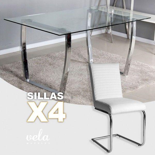 """Conjunto  de mesa para comedor fija de estilo moderno y sillas con patas en forma de """"C""""."""