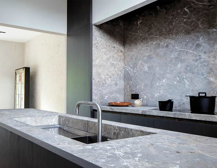 Britsom & Philips Architects - Grey marble bench top and splash back kitchen. Love this idea!