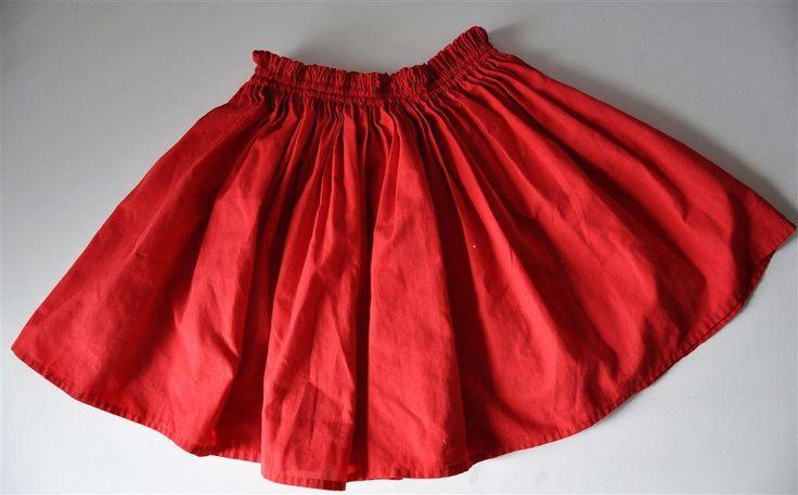 Röd kort kjol vippig retro pop vintage söt second hand XS på Tradera.com