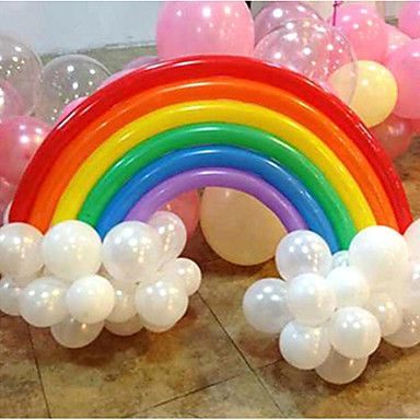 Rainbow Balloon Set Birthday Party Wedding Decor (20 Long Balloon, 16 Round Ballon, Random Color) - GBP £ 3.49