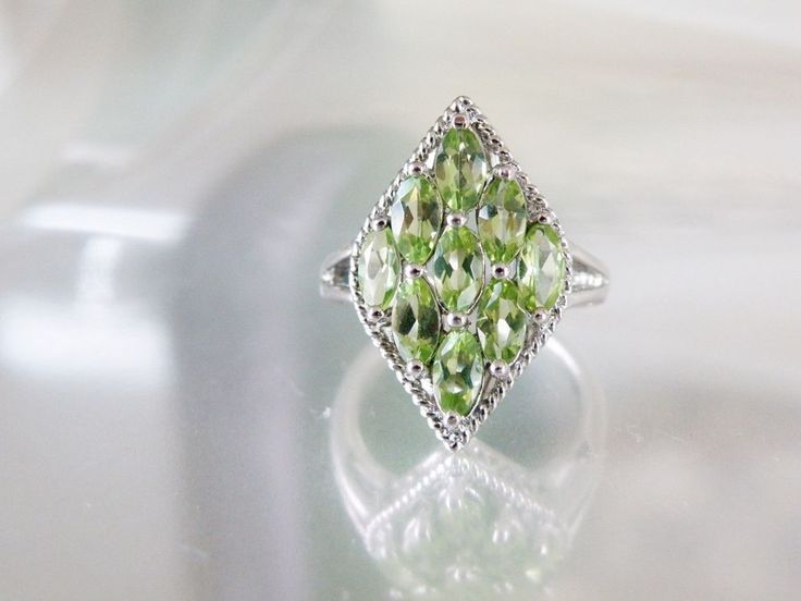 New Sterling Silver 925 Genuine Peridot Marquise Cut Peridot Cluster Ring Size 6 #EstateFound #Cluster #AugustBirthdayGifts #AugustBirthstoneJewelry #HealingGemstones