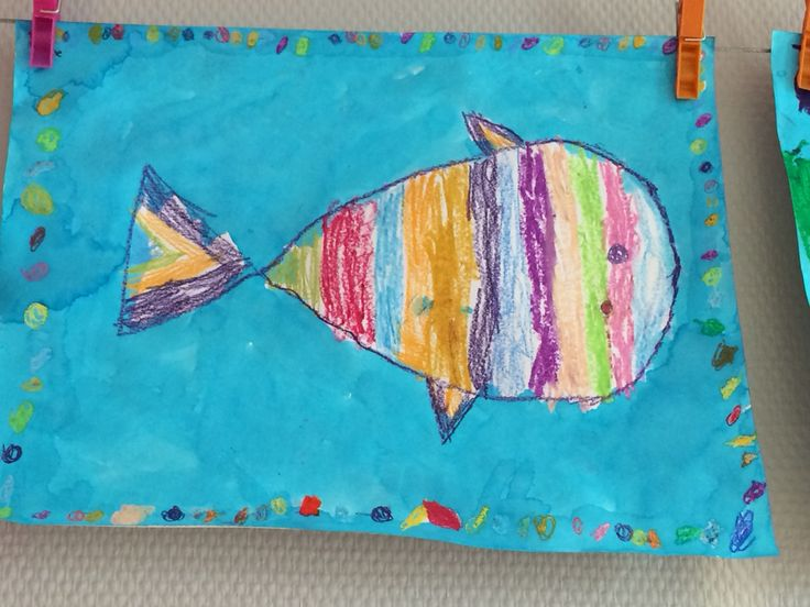 Thema: Diep in de zee.  Vis met wasco en waterverf.