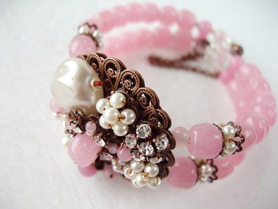 Pink Bead Pearl & Rhinestone Cuff Bracelet Statement Jewelry Antique Copper Miriam Haskell Style by mdmButiik