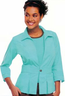 9604 Short Peplum Jacket: Convertible collar, top-stitched princess seams front and back, wide waistband with signature button closure, two front pockets and pleats front and back. Vented 3/4 sleeve. 65% polyester/ 35% combed cotton poplin. XS-2XL.