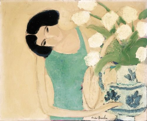 Woman with white tulips, André Brasilier. French born in 1929.