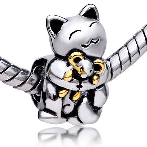Pugster Smiling Cat Hugging Mouse Charm Bead Fit Pandora Charms for only $8.99.. awh!