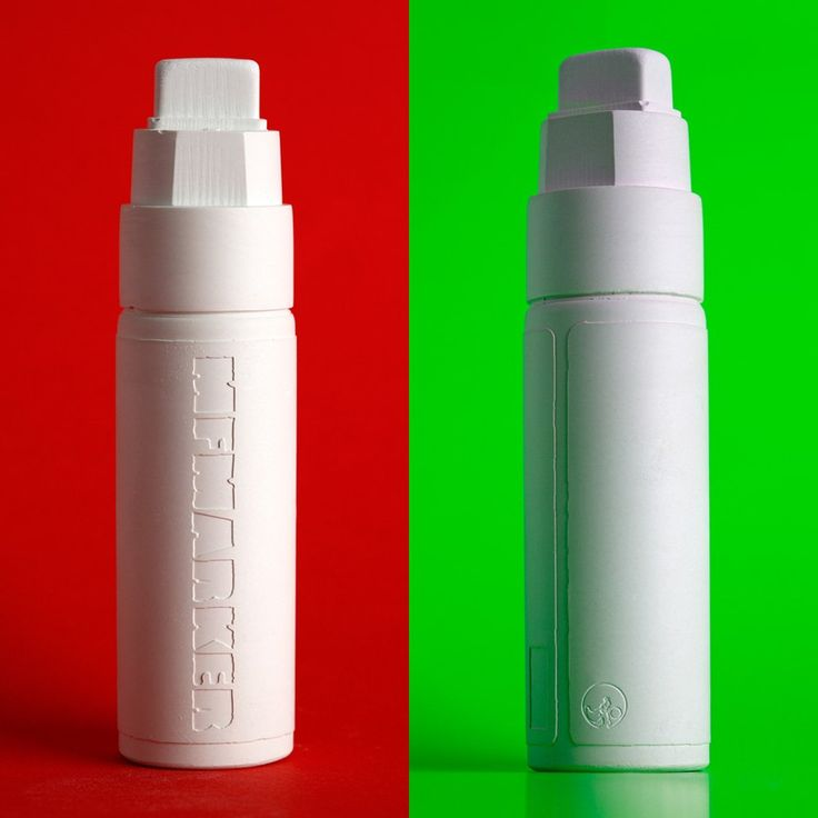 MFMarker (MyFirstMarker) is entirely made out of chalk and shaped like a big fat marker. The original all white MFMarker comes in a blackboard tube with a mimeographed info leaflet and stickers.