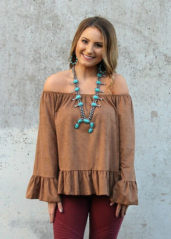 Chic and Sleek Off Shoulder Suede Ruffle Top in Camel – Giddy Up Glamour Boutique