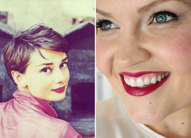 Audrey Hepburn's raspberry lips   30 Retro Hair + Makeup Tutorials Inspired by Old Hollywood via Brit + Co.