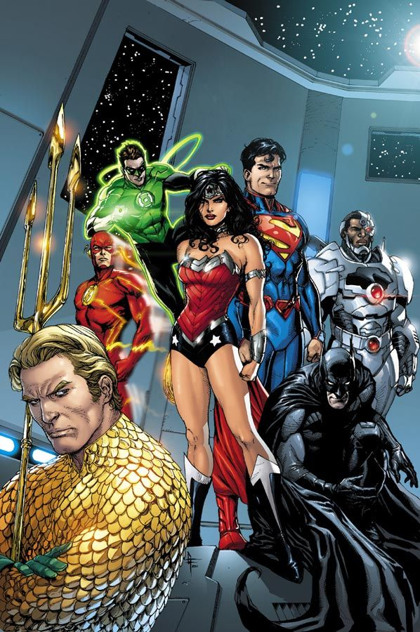 "A variant cover for ""Justice League #7"" by artist Gene Ha."